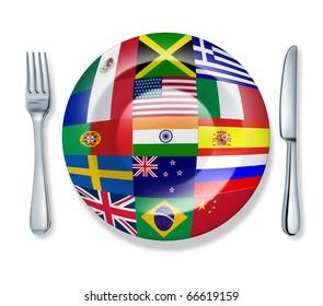 international food fork plate knife isolated world flag cuisine