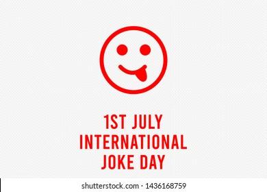 International Joke Day background illustration, Happy Yellow Face. Laughing emoticon symbol. International Joke Day Poster, July 1,