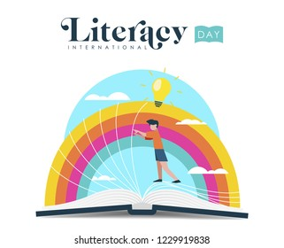 International Literacy Day illustration of kid discovering new book story. World education for children concept.