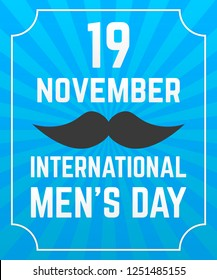 International Men s Day poster. Black mustache, blue rays background.