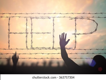 """International migrants day concept: Silhouette victim child raising hands and """"Help"""" sign from rusty barbed wire on blurred sunset background."""