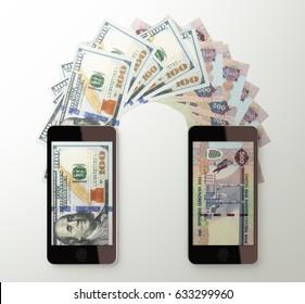International mobile money transfer with smart phone. American dollar to United Arab Emirates dirham. 3d rendered illustration.
