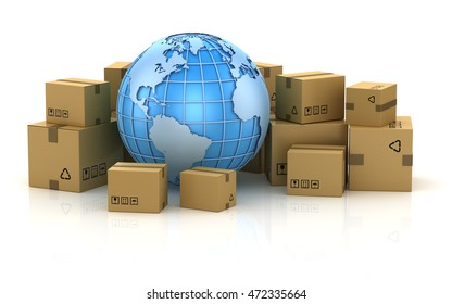 International package delivery concept , This is a 3d computer generated image. Isolated on white.