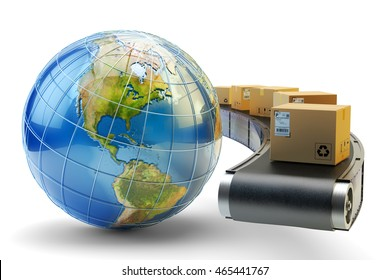 International package delivery and parcels shipping concept, global purchases transportation, cardboard boxes on conveyor belt and Earth globe isolated on white, 3d illustration (Elements by NASA)