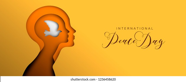 International peace Day social media web banner in paper cut style, peaceful mind concept for world unity and teamwork. Human head with dove bird cutout illustration.