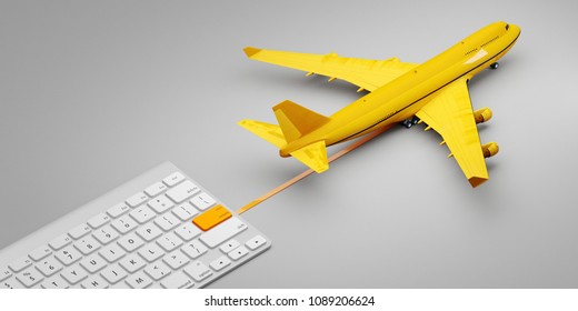 international post mail express avia air delivery service. Concept of one click delivery. 3d illustration.