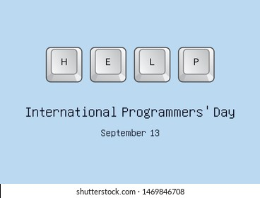 International Programmers' Day illustration. Keyboard keys icon. Keyboard on a blue background. Help on the keyboard. International Programmers' Day Poster, September 13. Important day