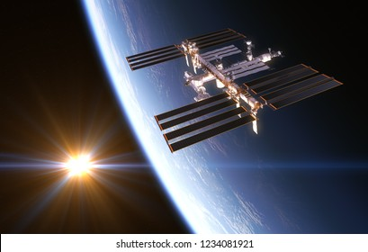 International Space Station On Background Of Rising Sun. 3D Illustration.