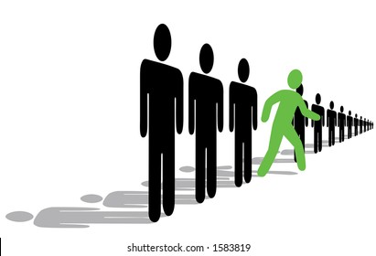 """The international symbolism for, """"Step out from the Crowd, Be an Innovator!"""" Crop the shadows or use the area above them for text. Clipping paths included for easily changing colors, etc."""