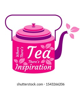 International Tea Day. Agricultural holiday concept. Bright retro teapot. Lettering - Where theres tea theres inspiration. Tea leaves