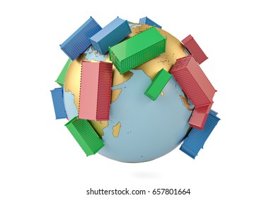 International trade concept containers on globe 3d illustration.
