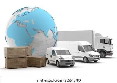 International transport of goods by road - 3D Render
