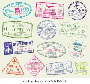 International travel visa passport stamps set. Paris and toronto, hong kong and port of amsterdam illustration.