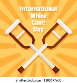 International white cane day concept background. Flat illustration of international white cane day concept background for web design