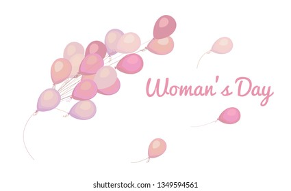International Women s Day banner, greeting card template with Bunch of balloons in pastel. design for banners, cards, posters.