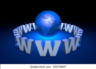 The  Internet addiction, new information era. Web technologies. Globalization. International communication system. Creation and promotion of the website. 3D illustration rendering.
