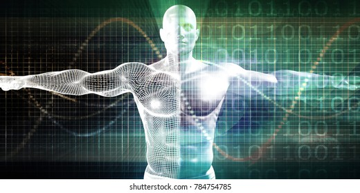 Internet Background with Binary Code and Vitruvian Man 3d Render