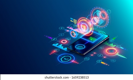 Internet banking, online payment security transaction via mobile phone. Online bank isometric conceptual banner. Digital money transfer technology.  Smartphone application access financial account.