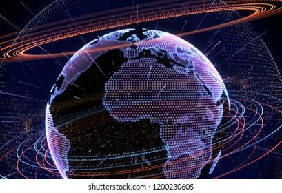 Internet, big data and information technology concept .3D illustration