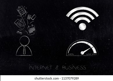 internet and business potential conceptual ilustration: wifi and speedometer icons next to businessman with office objects flying above his head