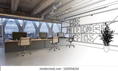 The internet company office interior concept 3D rendering with sketched black and white half of the image