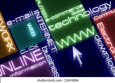 Internet concept. 3d rendering. Neon light. Design.