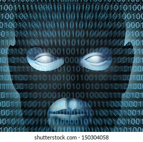 Internet crime technology security concept with digital binary code over a burglar icon as a symbol of high tech criminal activity affecting the safety or protection of computer networks server data.