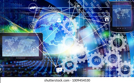 internet cyber space 3d rendering illustration