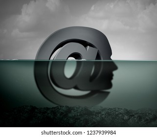 Internet depression or cyberbullying psychological anxiety as an email symbol shaped as a person depressed because of compulsive  habits with social media sites 3D illustration style.