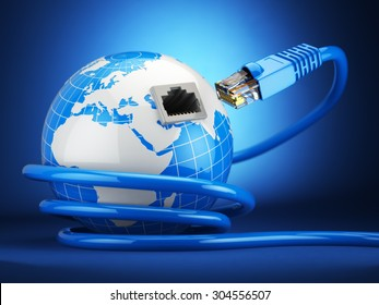 Internet global communication concept. Earth and ethernet cable on blue background. 3d