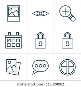 Internet icons set with messaging, scenery image, open lock and other landscape photo elements. Isolated  illustration internet icons.