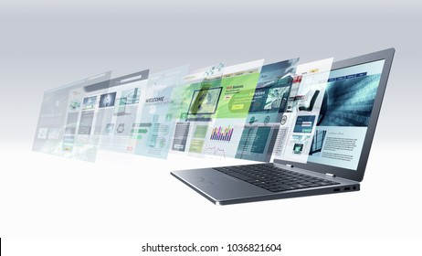 Internet and information technology conceptual images. Laptop screen browsing multiple web pages.