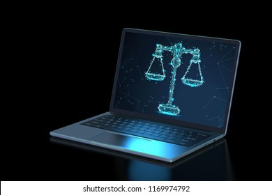 Internet law concept with 3d rendering computer notebook display law scale