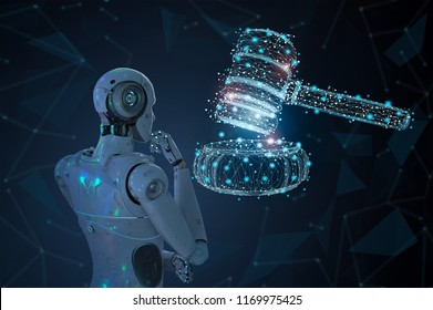 Internet law concept with 3d rendering ai robot with gavel judge
