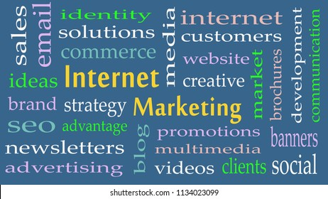 Internet Marketing word cloud concept on grey background