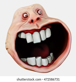 Internet meme Surprised Forever Alone Guy. Rage face. 3D rendering. 3D illustration. Isolated