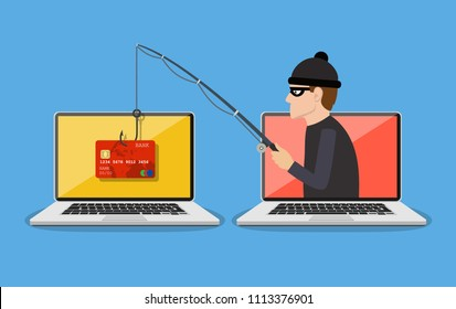 Internet phishing and hacking attack concept. Email spoofing and personal information security background. internet attack on credit card. illustration in flat design. Raster version.