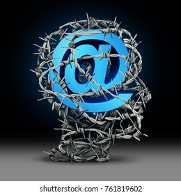 Internet privacy protection and cyber security technology information safety as an email symbol protected by barbed wire shaped as a person with3D render elements.