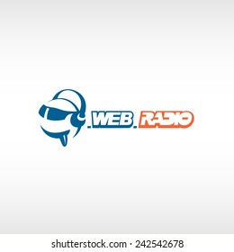 Internet radio logo template. Fun head with headphones and glasses.