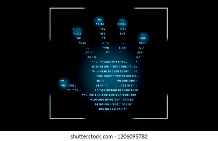Internet safety concept. Binary code on palm print against a black screen. Digital biometric password