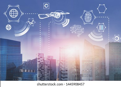 Internet and satellite holograms over modern city background. Concept of telecommunication and hi tech. 3d rendering toned image double exposure