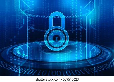 Internet security. Closed pad lock on digital background