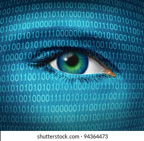 Internet security and privacy issues with a human eye and digital binary code as surveillance of hackers or hacking from cyber criminals watching prohibited access to web sites with firewalls.