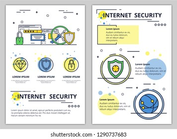 Internet security web banner, poster, flyer, leaflet, brochure template. modern thin line art flat style design illustration.