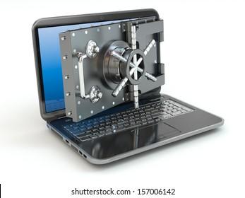 Internet security.Laptop and opening safe deposit box's door. 3d