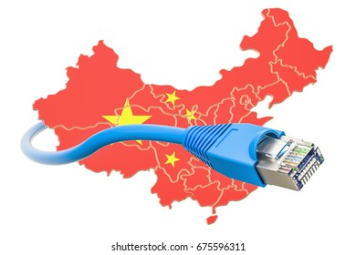 Internet service provider in China concept, 3D rendering isolated on white background