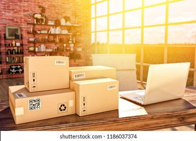 Internet shopping, online purchases, e-commerce and package delivery concept, cardboard boxes on the desk table in a modern interior, 3d illustration