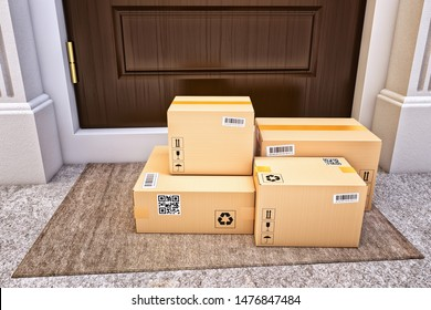 Internet shopping, online purchases, e-commerce and express package door-to-door delivery service concept, cardboard boxes on the door mat near the entrance door, 3d illustration