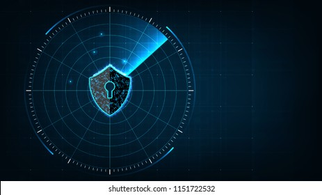 Internet technology cyber security concept of protect and scan computer virus attack  with Shield icon on digital blue realistic radar with targets on monitor in searching background.