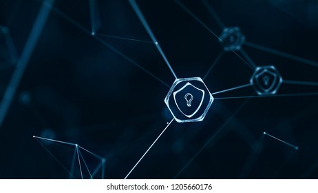 Internet technology network and cyber security concept .with Shield icon on secure data network technology, cyber attack protection for worldwide connections.